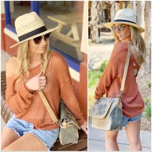 LAST ONE! Rust Open Knit Spring Sweater